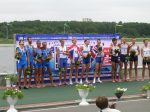 Winning GB Crew with Italian & US runners up: Men's Lightweight Coxless Four - World U23 Championships 2010