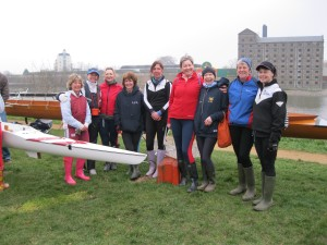 Women's 8+ just before boating for WeHORR 2012 at Tideway Scullers, Chiswick